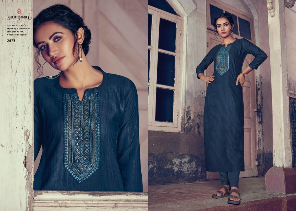 Rangoon Light Line Vol 4 Designer Fancy Lining Silk Work Kurties Wholesale