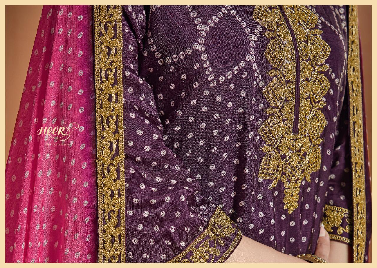 Kimora Heer Bandhani Digital Print Embroided Designer Suits Wholesale