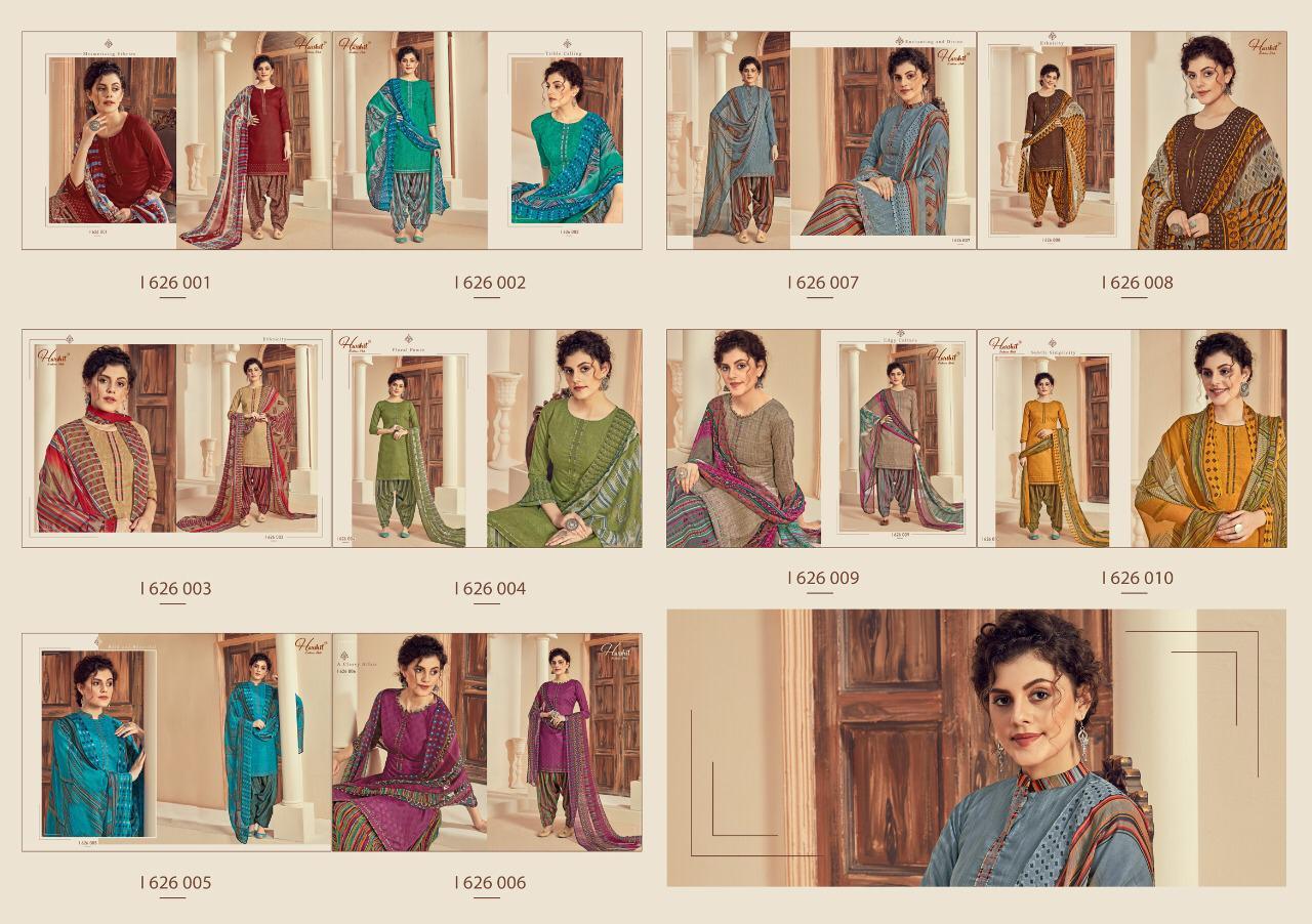 Harshit Fashion Hub Patiyala House Cotton Self Print Swarovski Diamond Work Designer Suits Wholesale