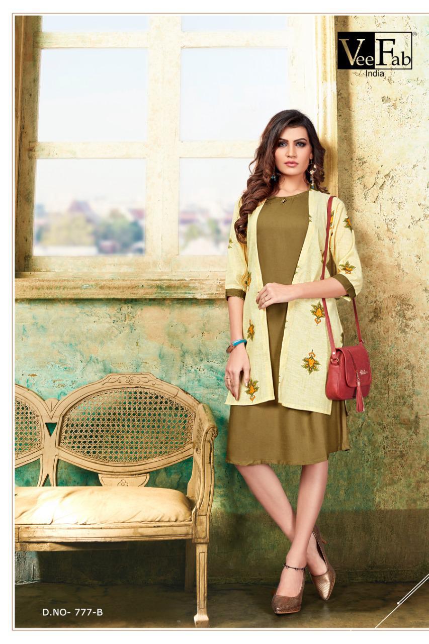 Vee Fab India Femina 14 Kg Rayon Designer Party Wear Heavy Fashionable Kurti Wholesale