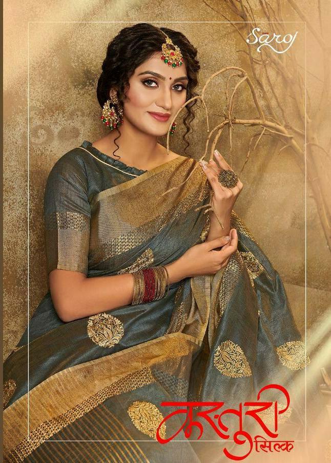 Saroj Saree Kasturi Silk Designer Butta Heavy Sarees Wholesale