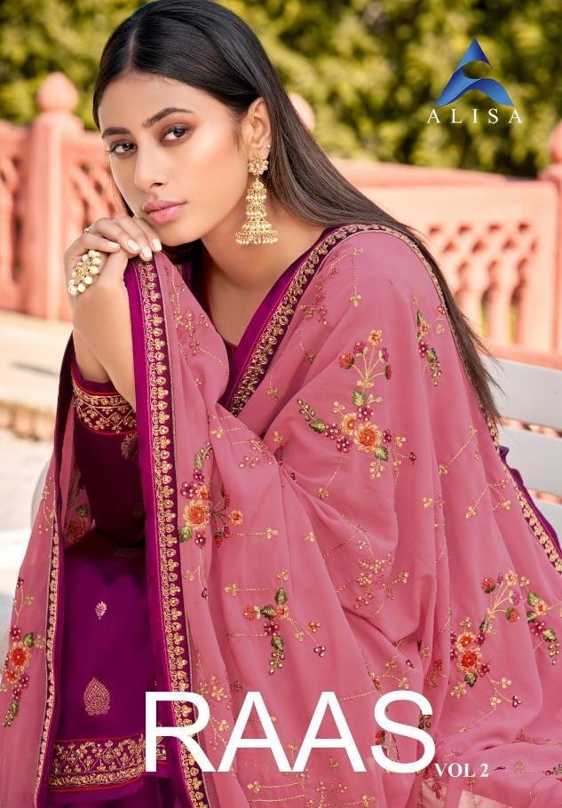Alisa Raas Vol 2 Jacquard Heavy Dupatta Desiger Embroided Suits Wholesale