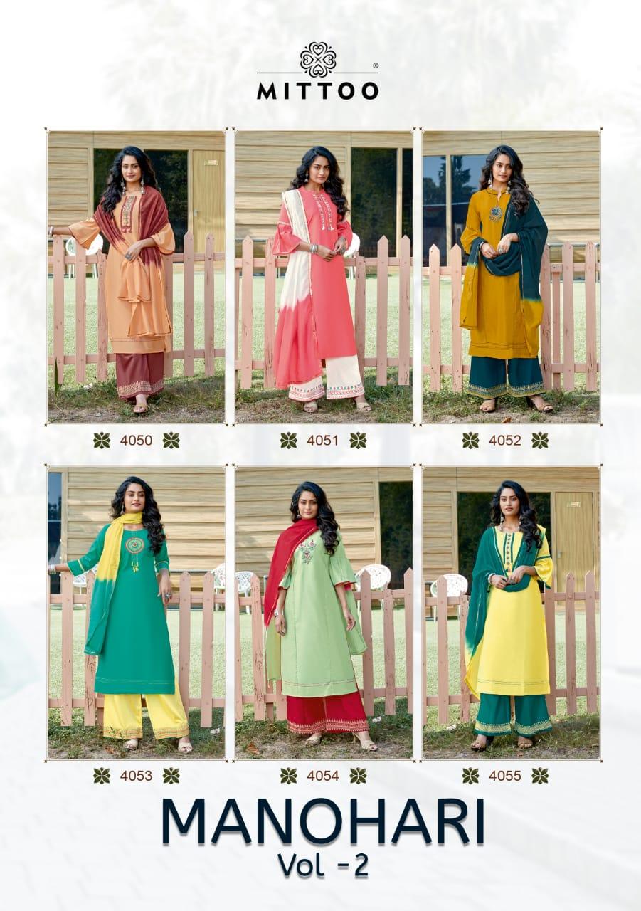 Mittoo Manohari Vol 2 Banarasi Viscouse Designer Silk Embroided Suits Wholesale