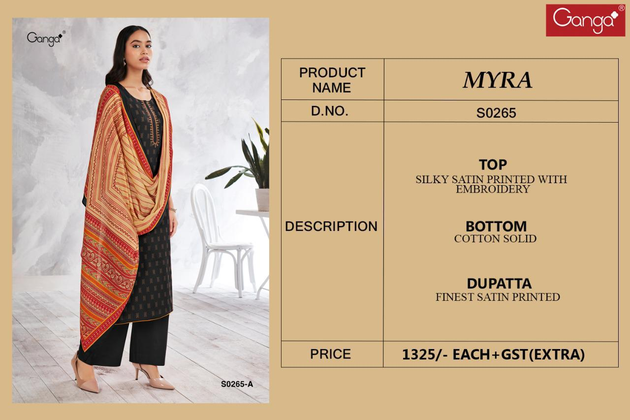 Ganga Myra 265 Cotton Satin Printed With Embroidery Suits Wholesale