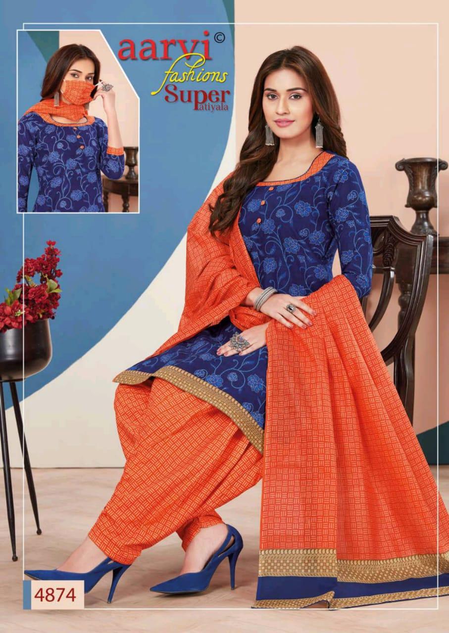 Aarvi Fashion Super Patiyala Vol 3 Cotton Designer Sitched & Unstitched Suits Wholesale