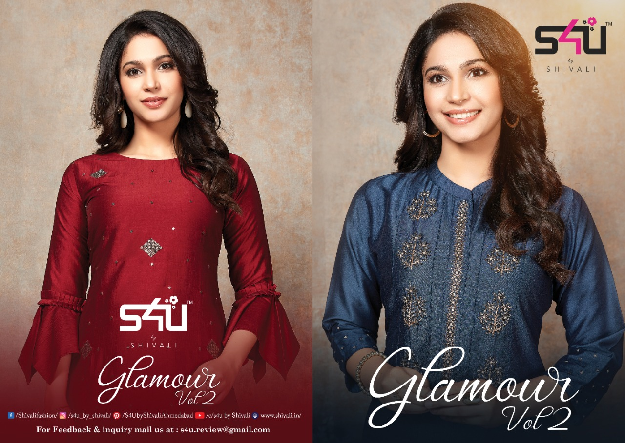 S4u Glomour  Vol 2 Designer Chinon Silk Embroidery With Premium Cotton Wedding Wear & Party Wear Kurtis Plazzo Collection In Best Wholesale Rate