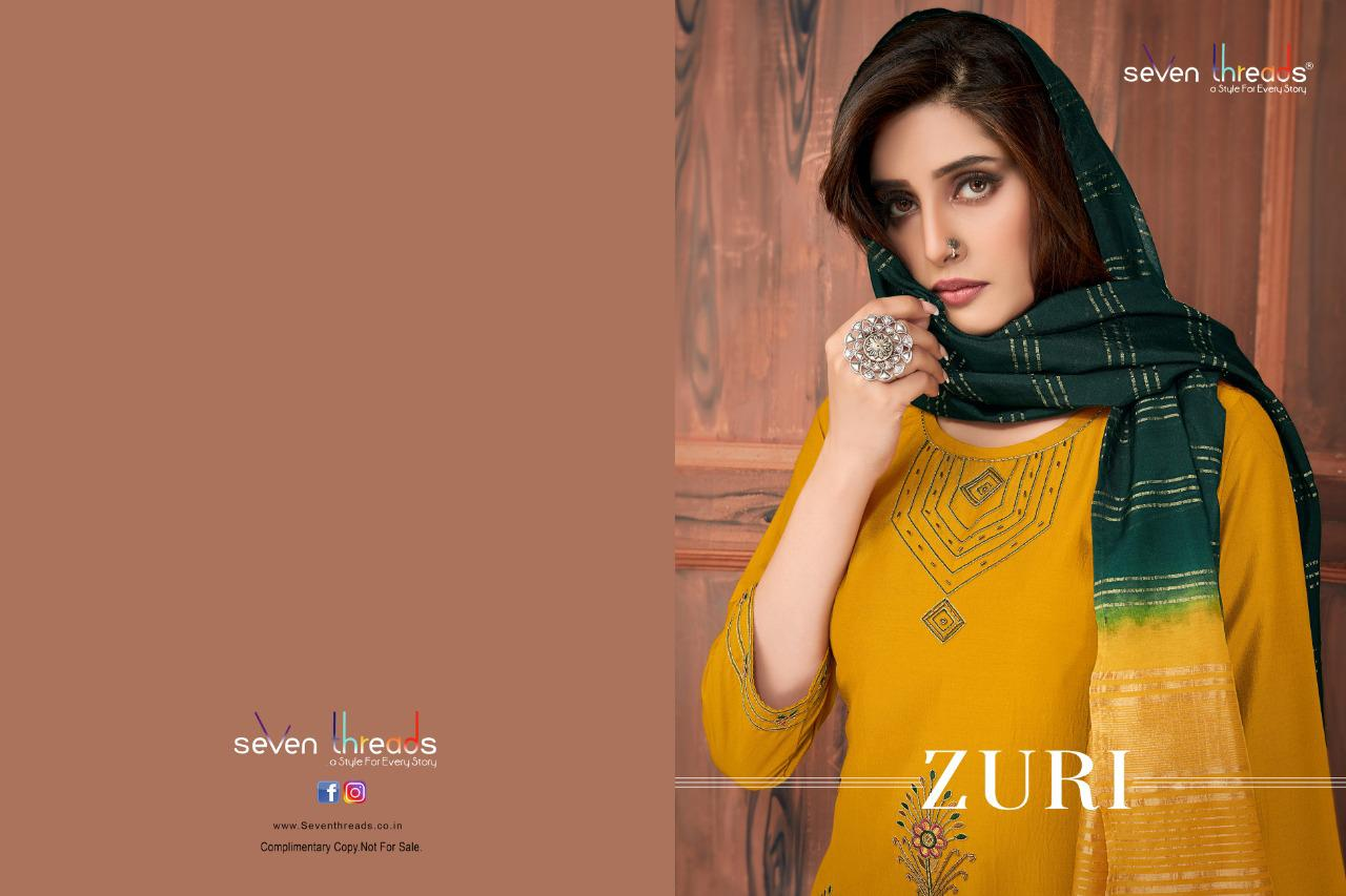 Seven Threads Zuri Designer Party Wear Viscose Silk With Inner Readymade Suits Wholesale