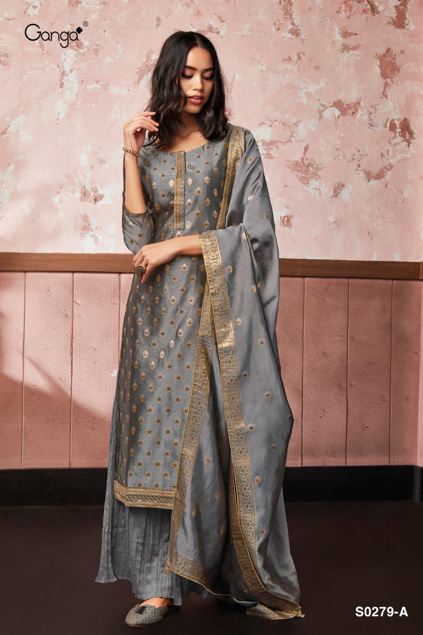 Ganga Vaani S0279 Designer Party Wear Heavy Embroidery Silk Jacquard Suita Wholesale