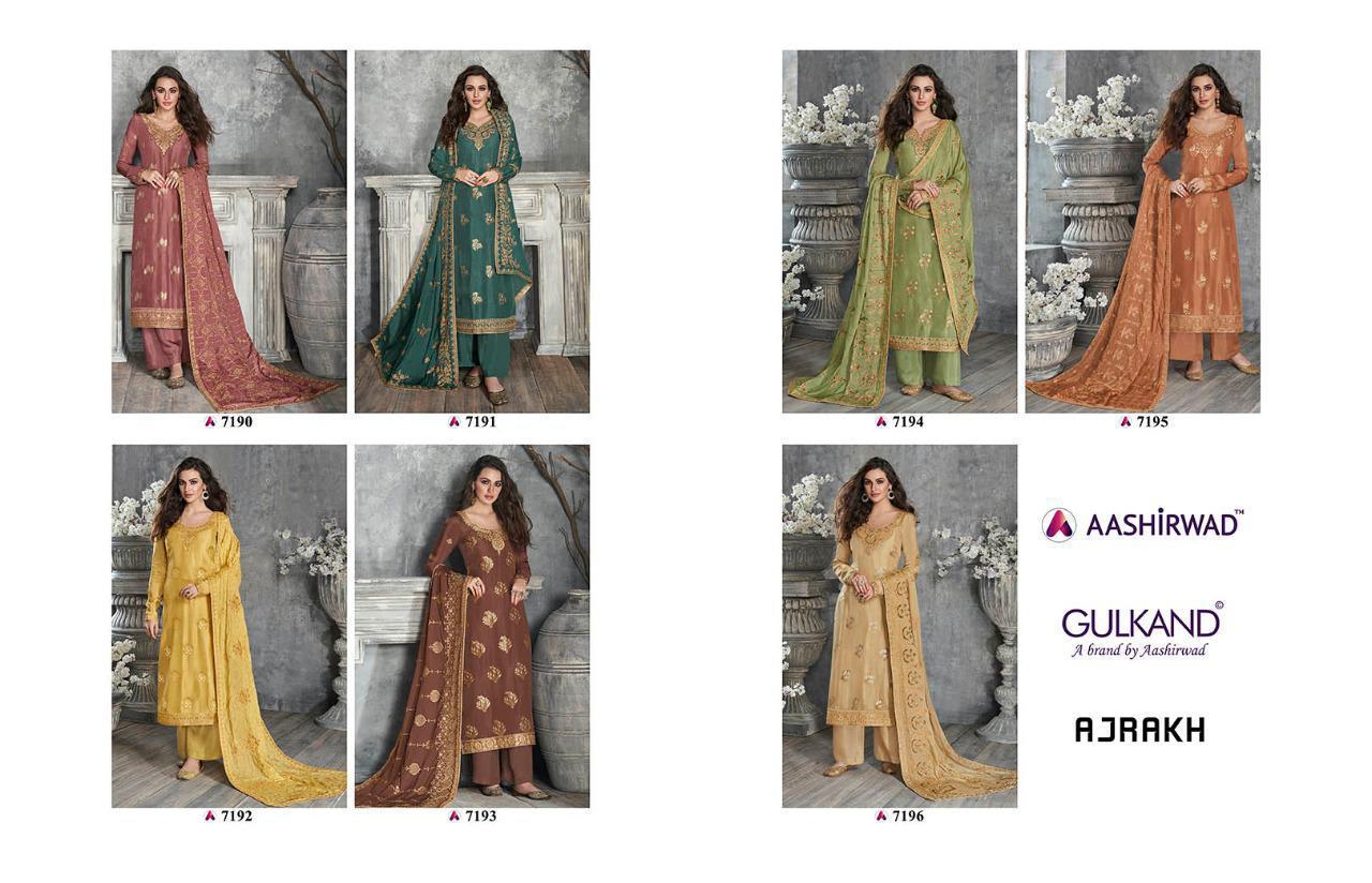 Aashirwad Ajrakh Designer Party Wear Heavy Embroidery Dolla Silk Suits Wholesale