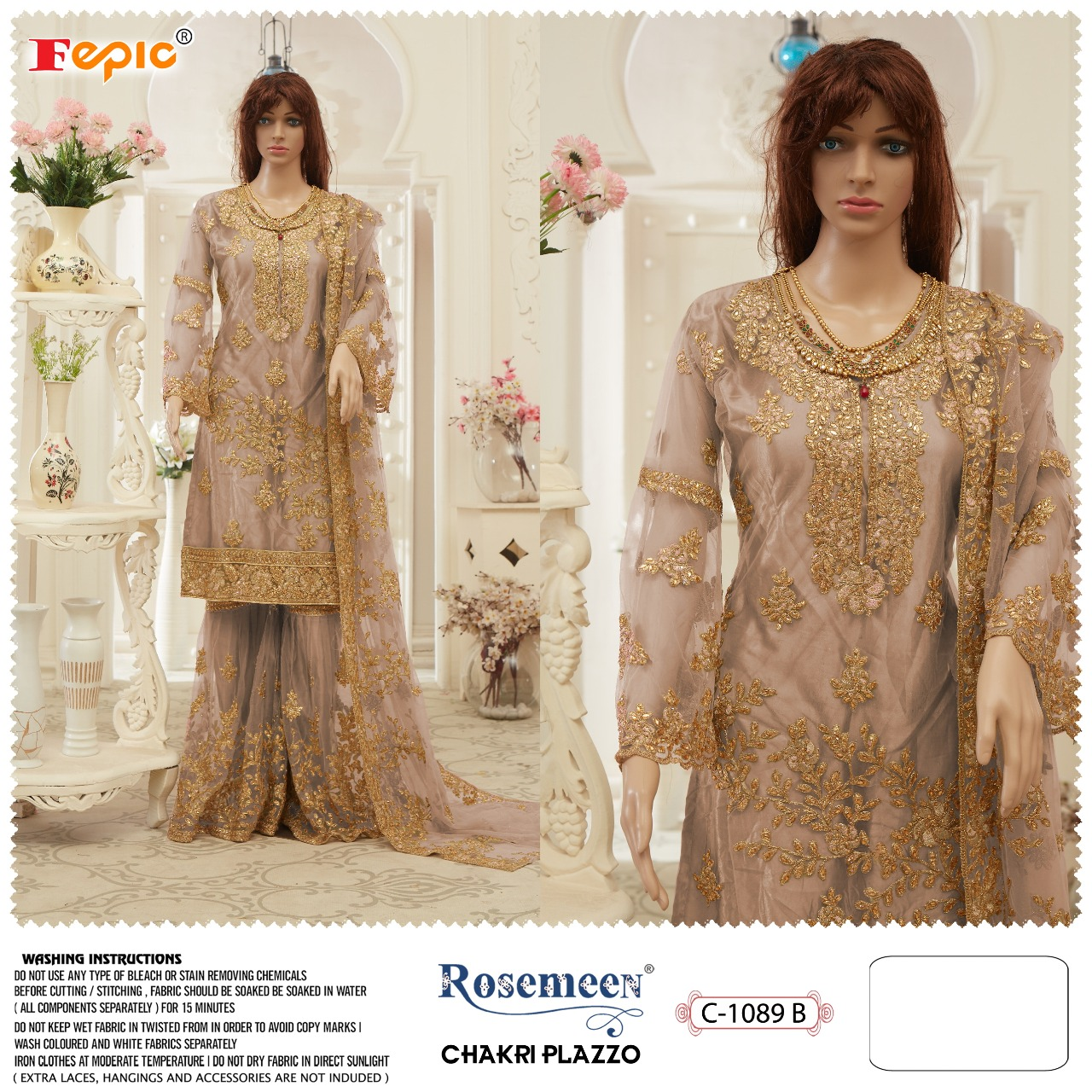 Fepic Rosemewn Chakari Plazzo Designer Georgette Embroidered Party Wear Heavy Work Suits Wholesale