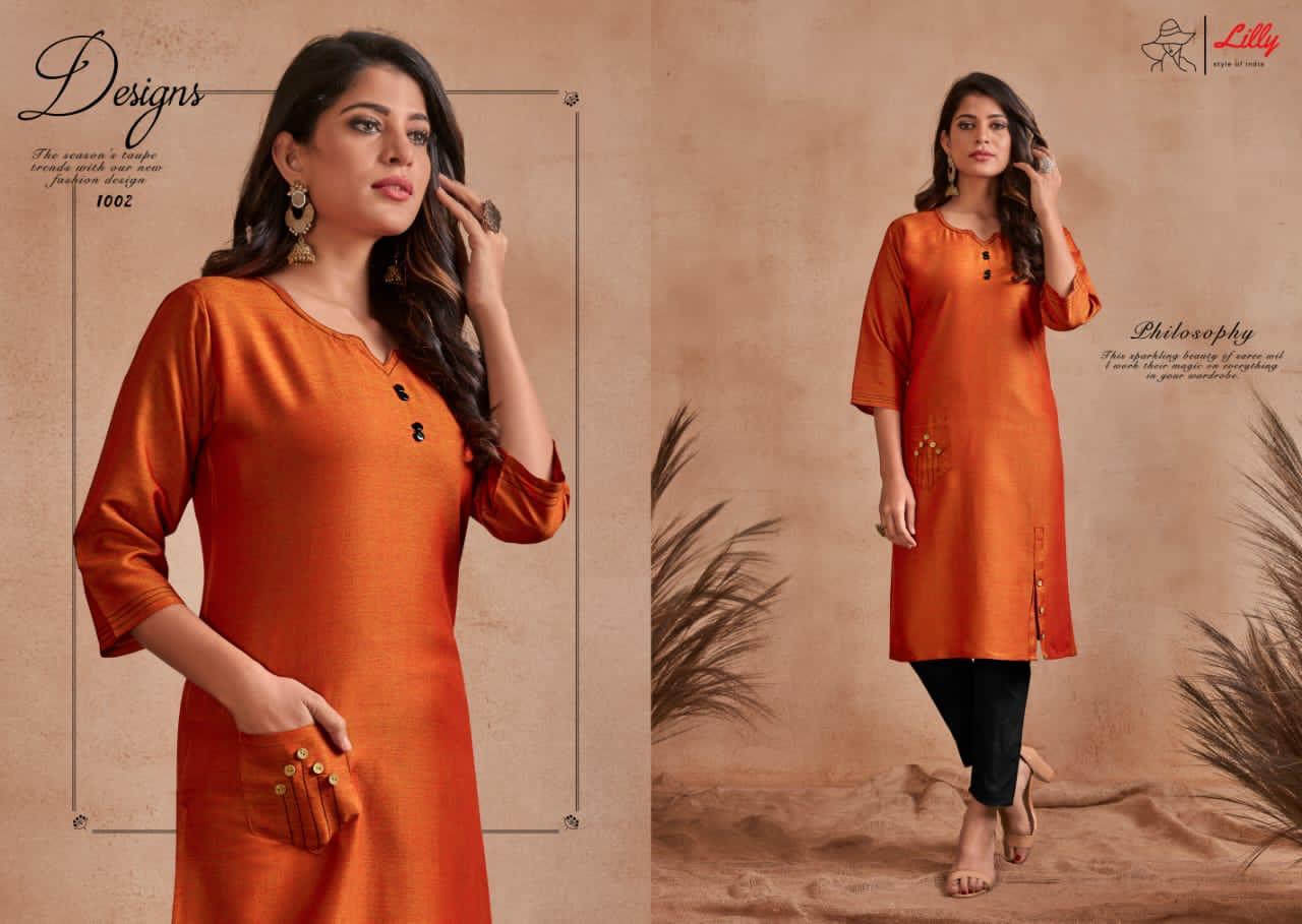 Lilly Firdous Designer Partu Wear Rayon Kurti Wholesale