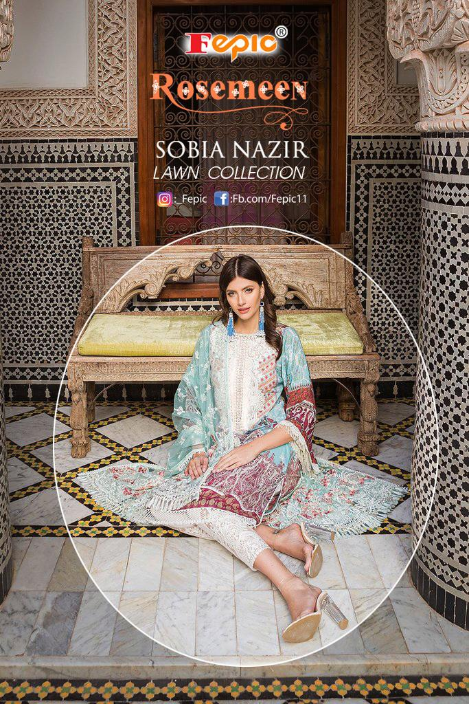Fepic Rosemeen Sobia Nazir Lawn Collection Heavy Embroided Designer Suits Wholesale