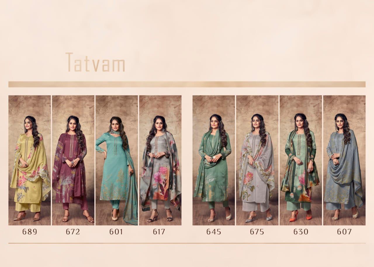 T&m Tatvam Cotton Satin Print With Embroidery Designer Suits Wholesale