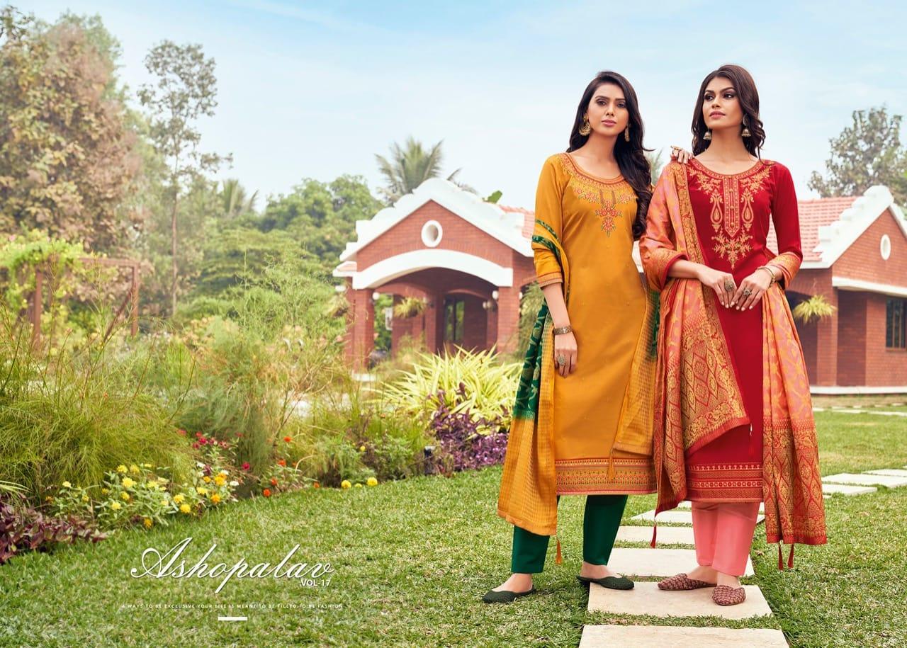 Kessi Fabrics Asopalav Vol 17  Designer Jam Satin With Work Heavy Suits Wholesale