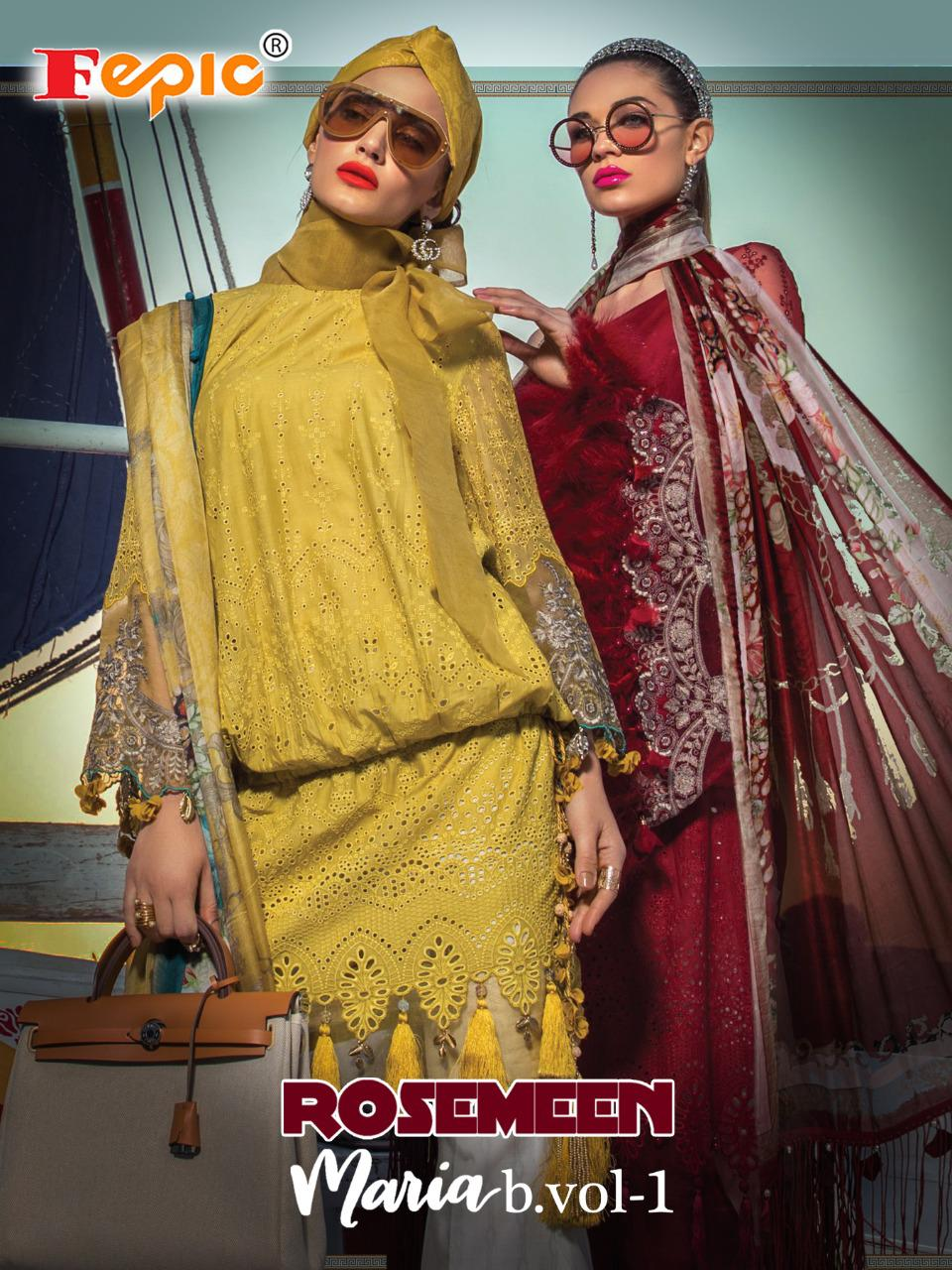 Fepic Rosemeen Maria B Lawn Vol 1 Embroidered Patch Work Designer Suits Wholesale