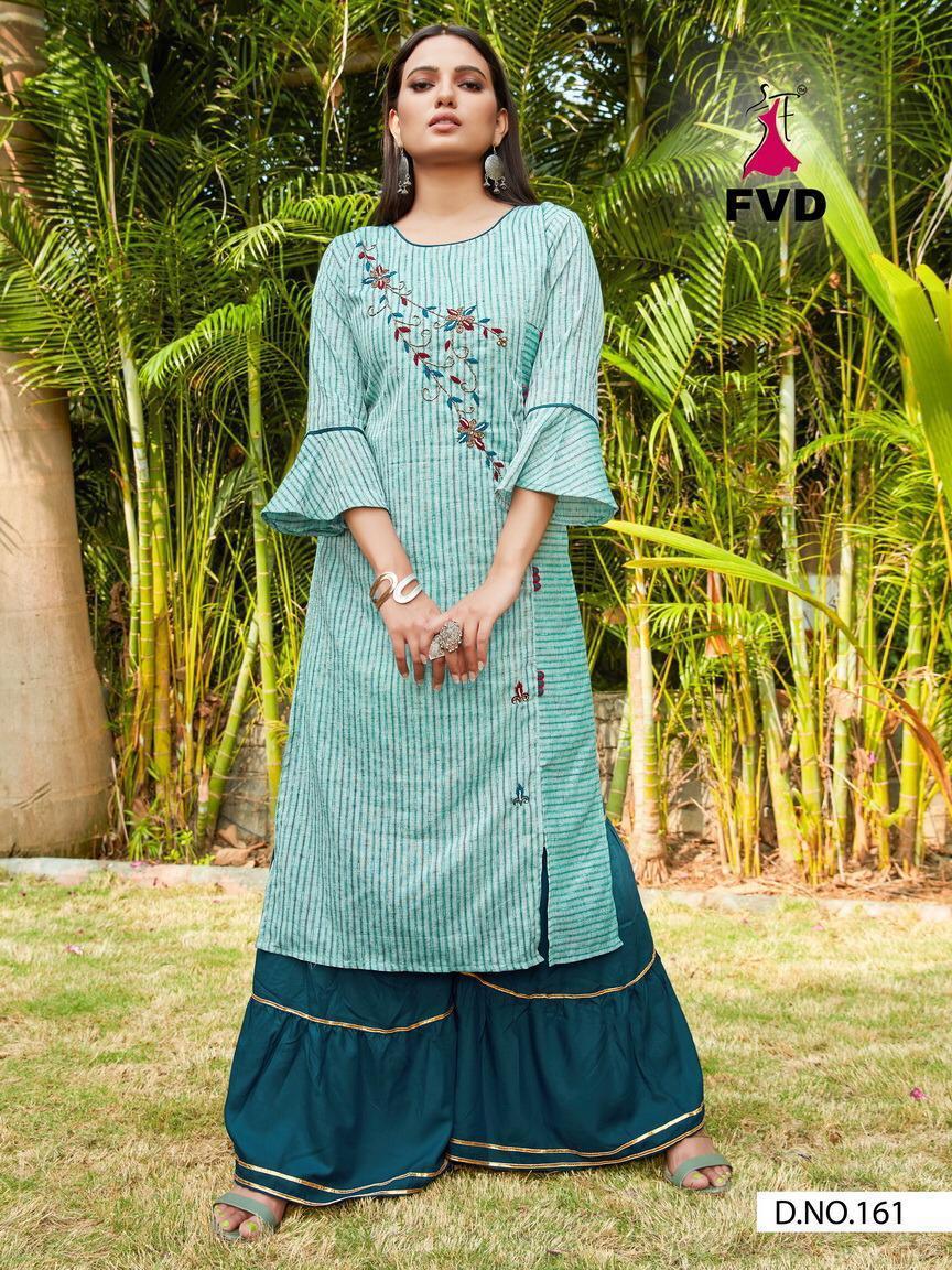 Fvd City Girl-2 Khadi Strip Cotton Khatli Handwork Suits Wholesale