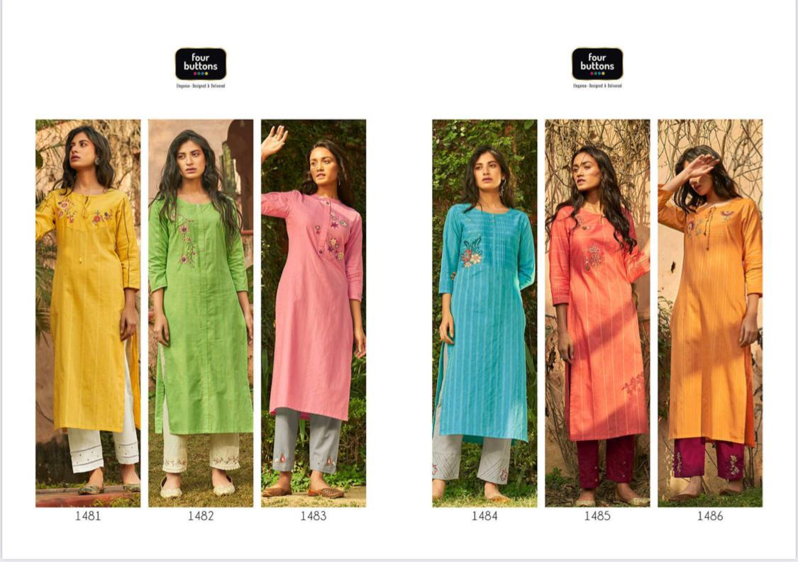 Four Buttons Peach 2 Cotton Stripes Embroideries And Trims Designer Kurti & Pants Wholesale In Best Rates