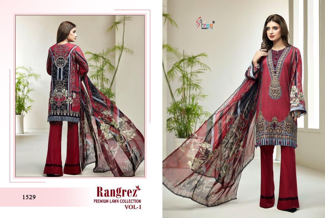 Shree Fabs Rangrez Premium Lawn Collection Vol-01 Designer Party Wear Suits Wholesale