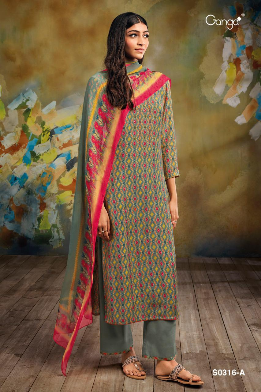 Ganga Mahonia 316 Pure Bemberg Silk Printed With Hand Work