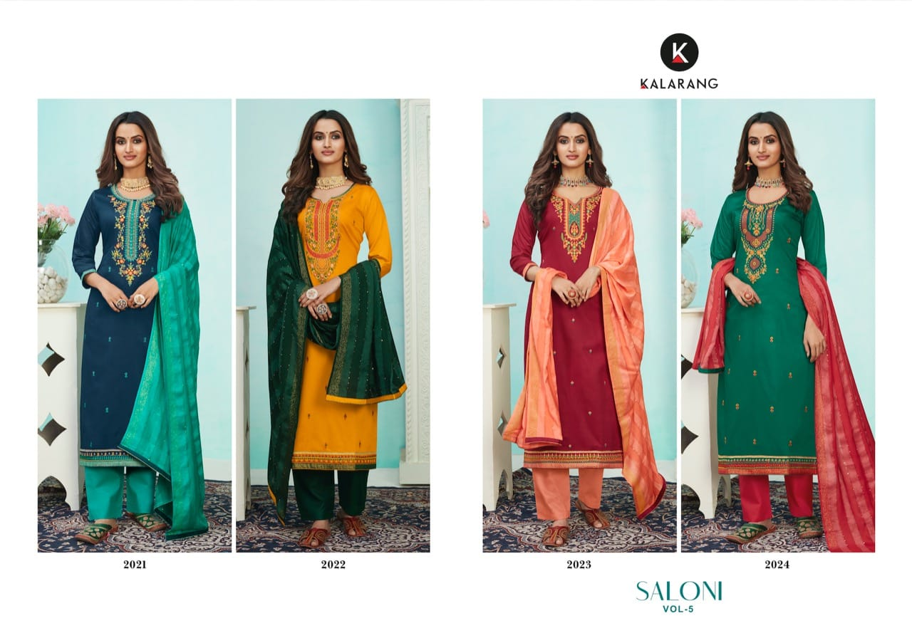 Kalarang Saloni Vol-5 Jam Silk Cotton With Embroidery Sequence Work Suits Wholesale Available At Best Rates