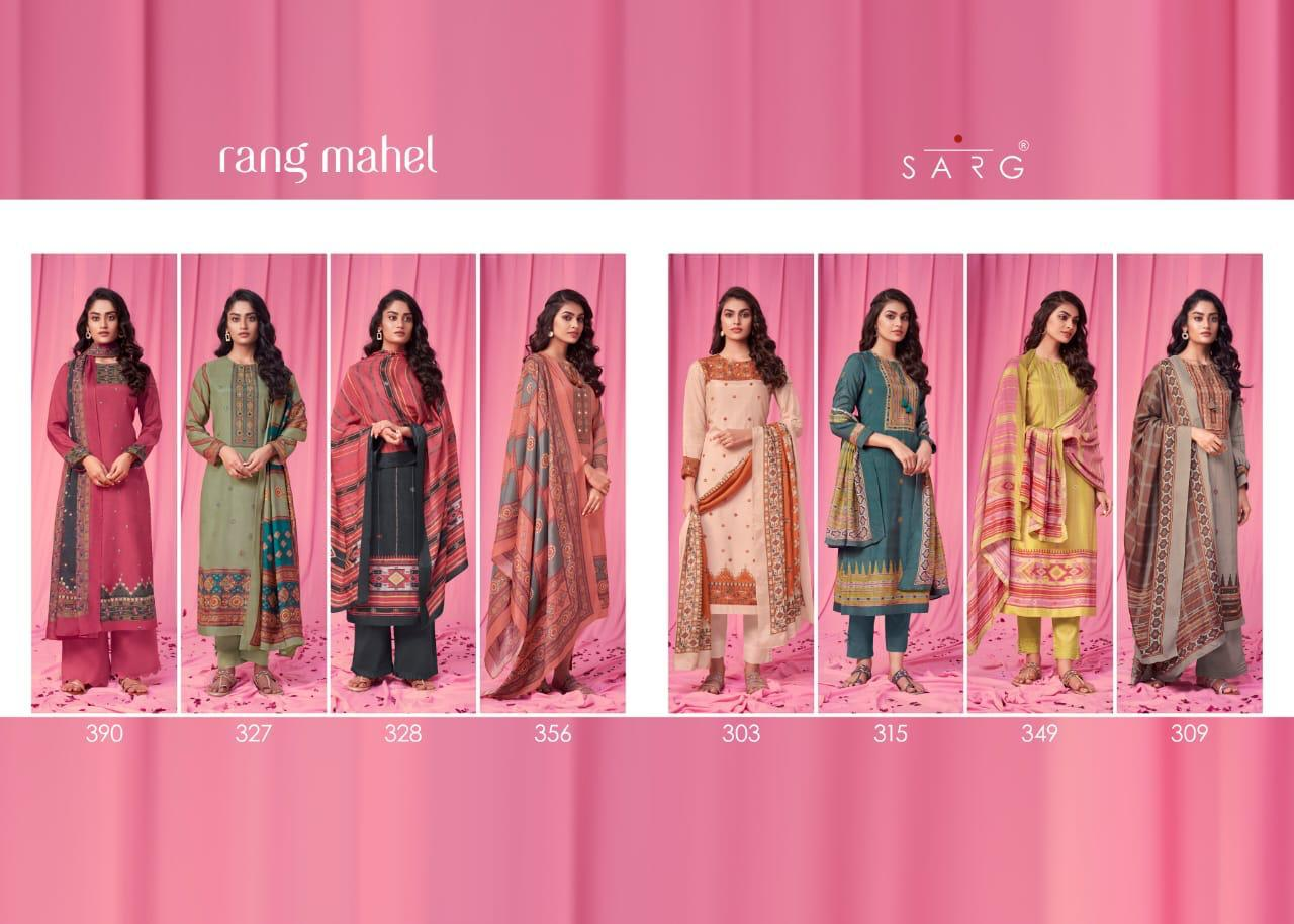 Sarg Rang Mahel Muslin Silk Digital Print With Hand Work Suits Wholesale Available At Best Rates