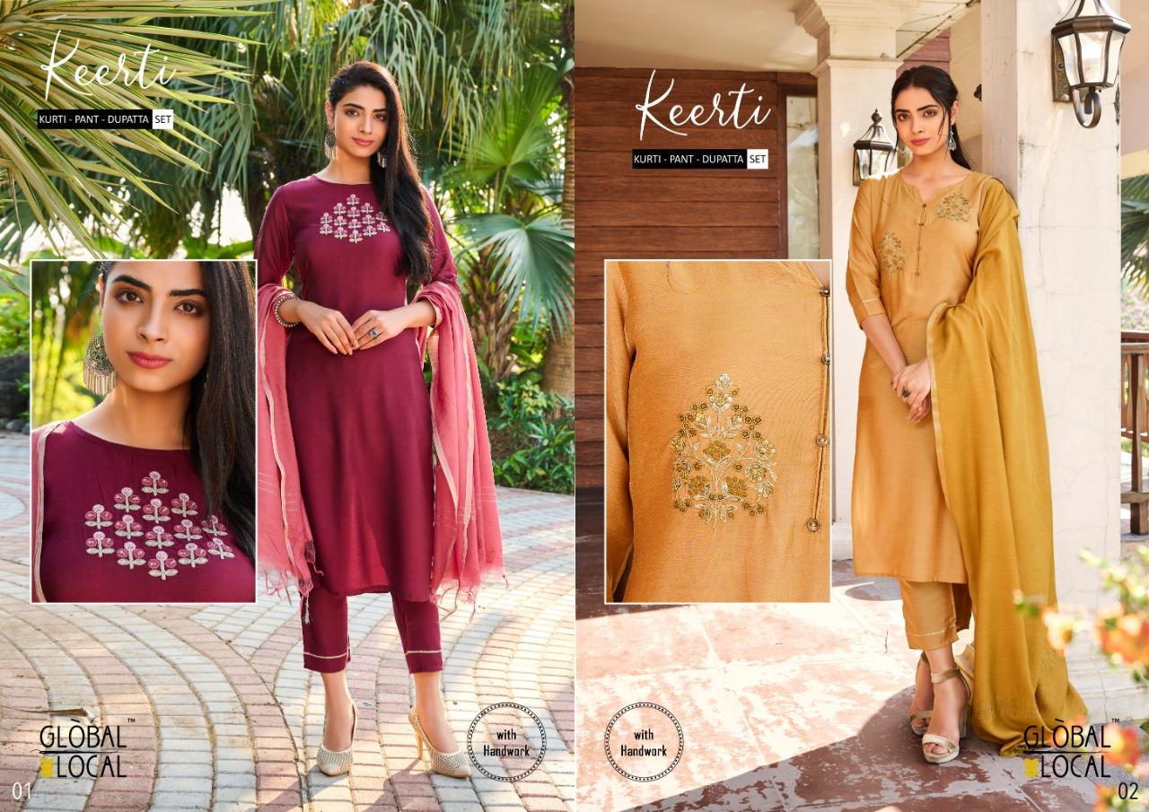 Global Local Keerti Muslin Kurties, Pants & Dupatta Desiger Wear Wholesale Available At Best Rates