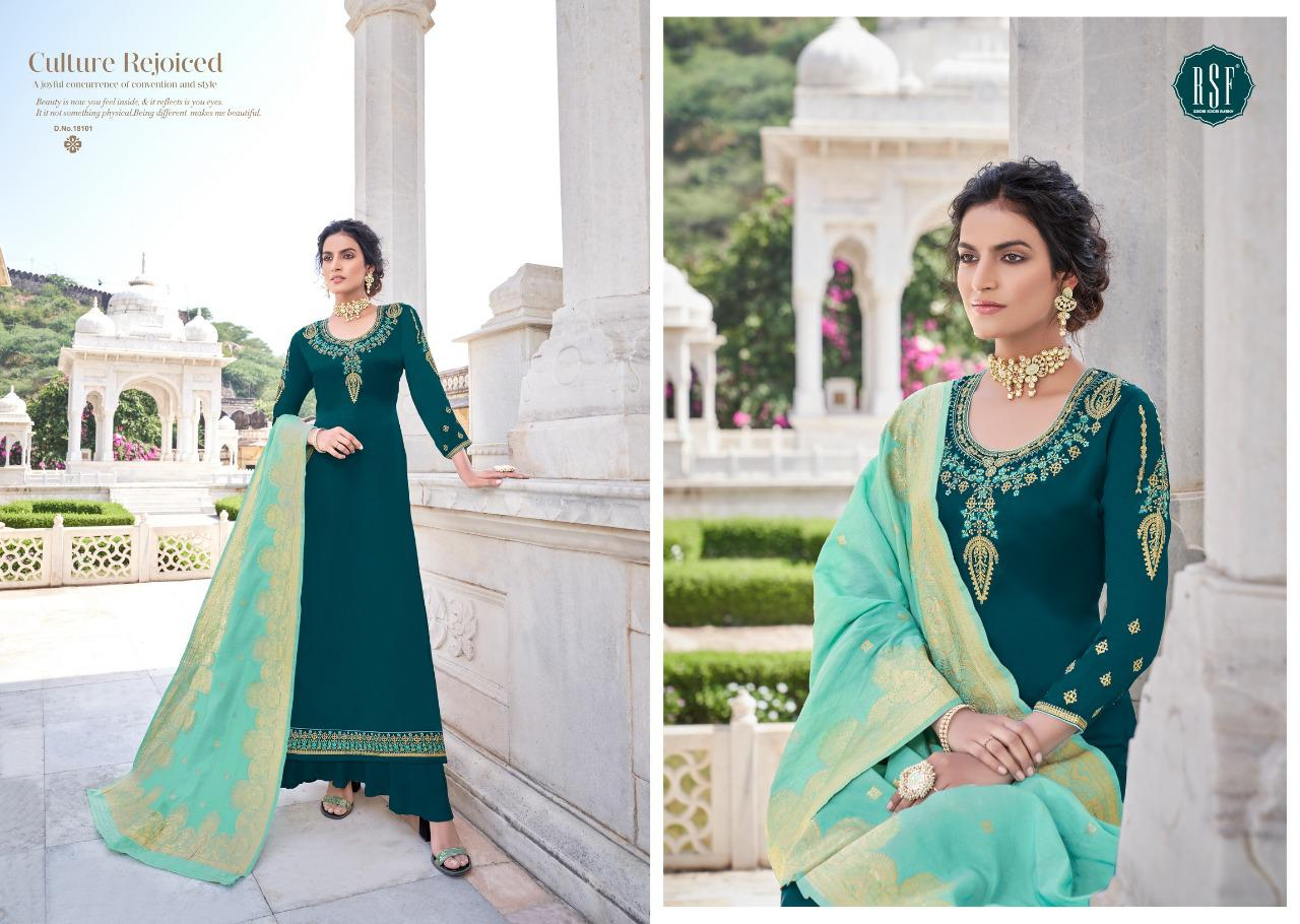 Rsf Nargis Satin Gorgette Diamond Work Designer Party Wear Suits Wholesale Available At Best Rates