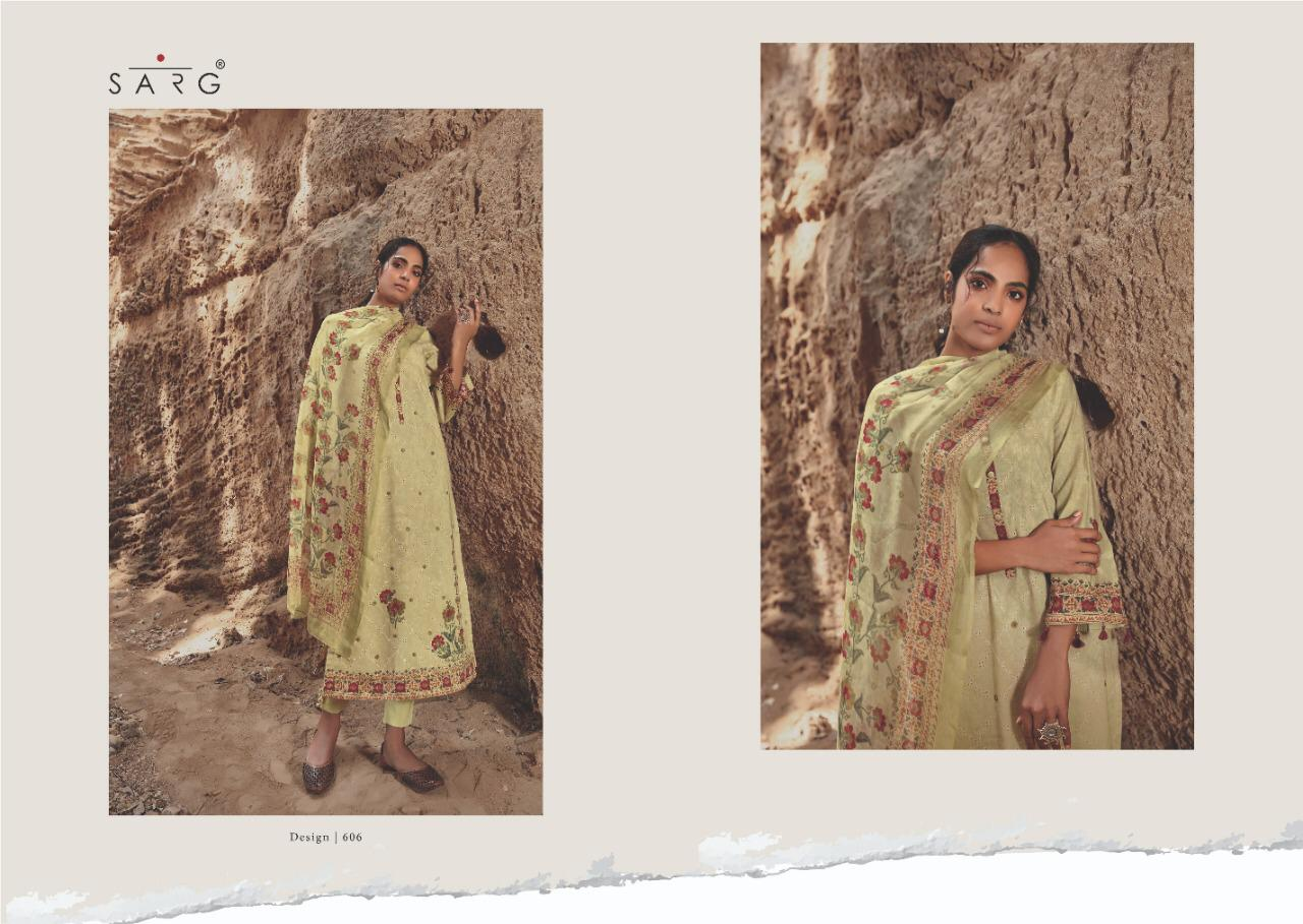 Sarg Summer Weave Cambric Front Embroidery With Digital Print Designer Suits Wholesale Available At Best Rates