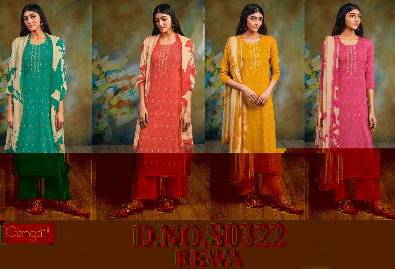 Ganga Rewa 322 Cotton Satin Printed With Embroidery Designer Party Wear Suits Wholesale Available At Best Rates