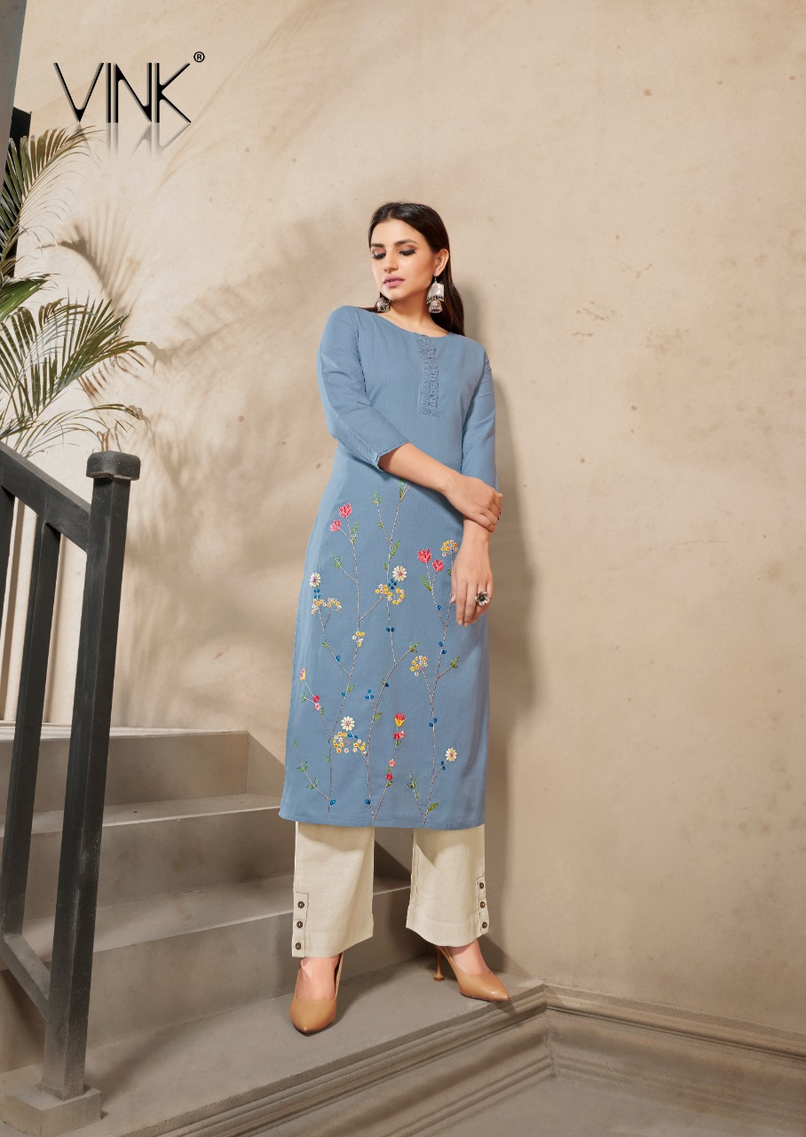 Vink Marigold 4 Linen Cotton Hand Work Boutique Style Designer Daily Wear Kurti Wholesale Available At Best Rates