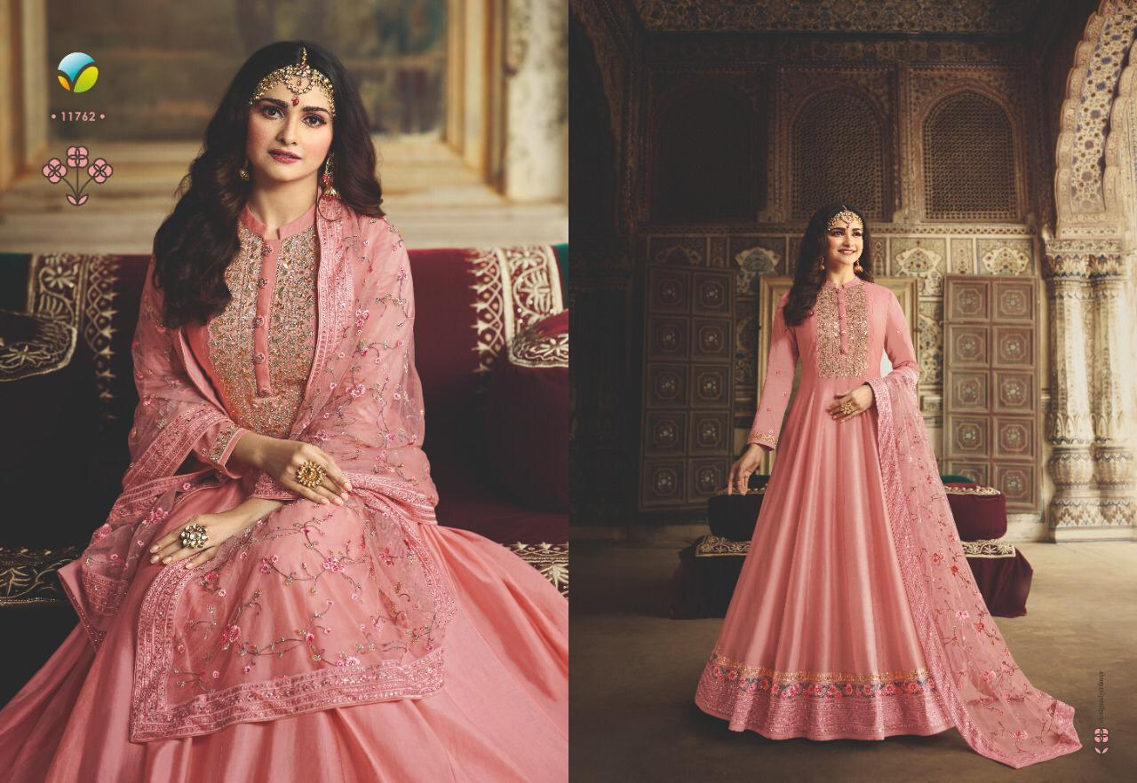 Vinay Rangmahal D.no.11762 Dola Silk Semi Stitch Gown With Dupatta Wholesale