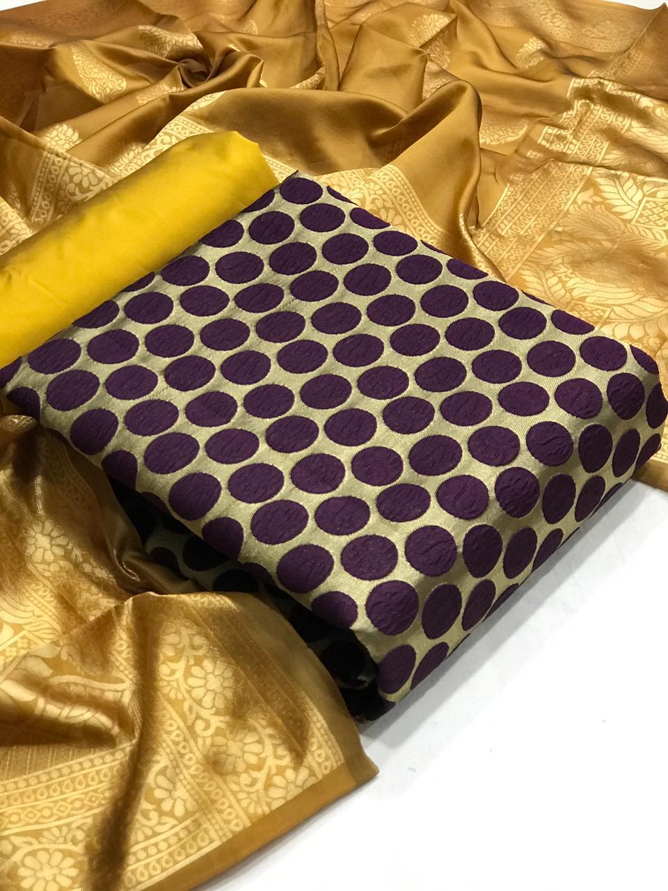 Banarasi Suits Banarasi Silk Bubble Designer Banarasi Silk Suits In Singles Wholesale