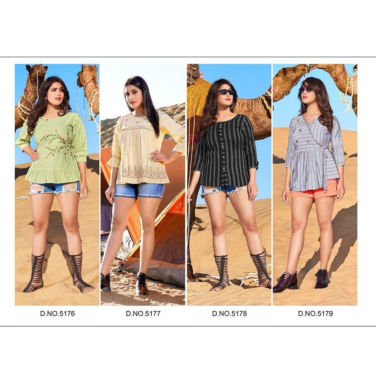 Yami Fashion Fame Designer Rayon Base Fancy Jacquard With Embroidery Work Tops Wholesale