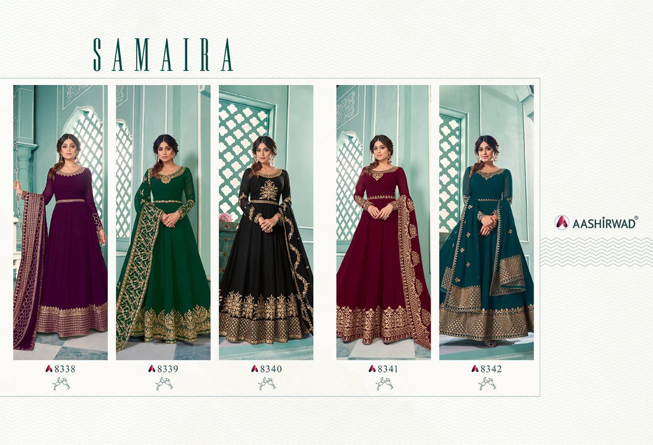 Aashirwad Samaira Designer Real Georgette Heavy Georgette Embroidery Work Partywear Semi Stitch Gown With Dupatta Wholesale