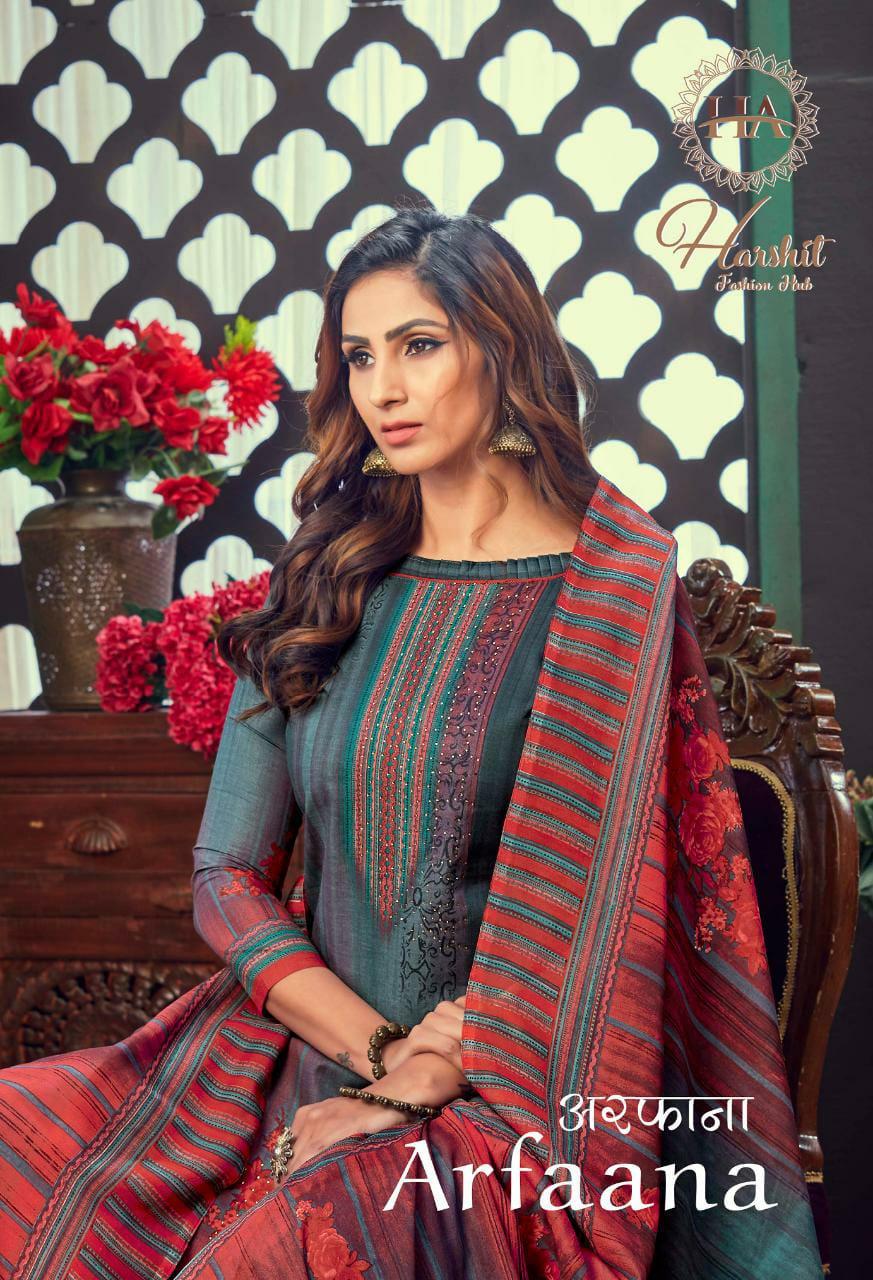 Harshit Fashion Hub Alok Suit Arfaana Designer Pure Cotton Digital Print With Diamond Work Suits Wholesale