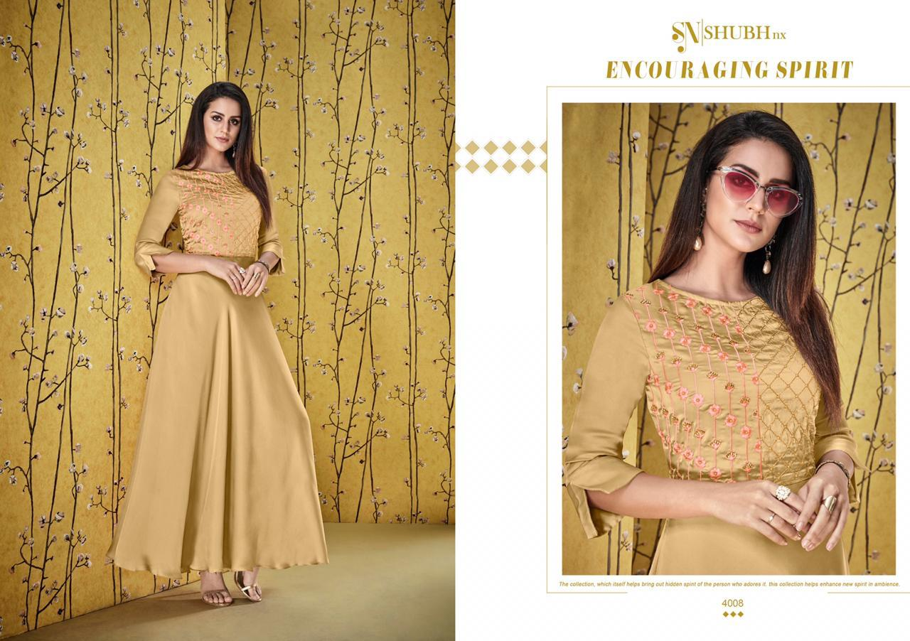 Shubh Nx Afshana Vol 1 Satin Georgette With Heavy Work Gowns Wholesale