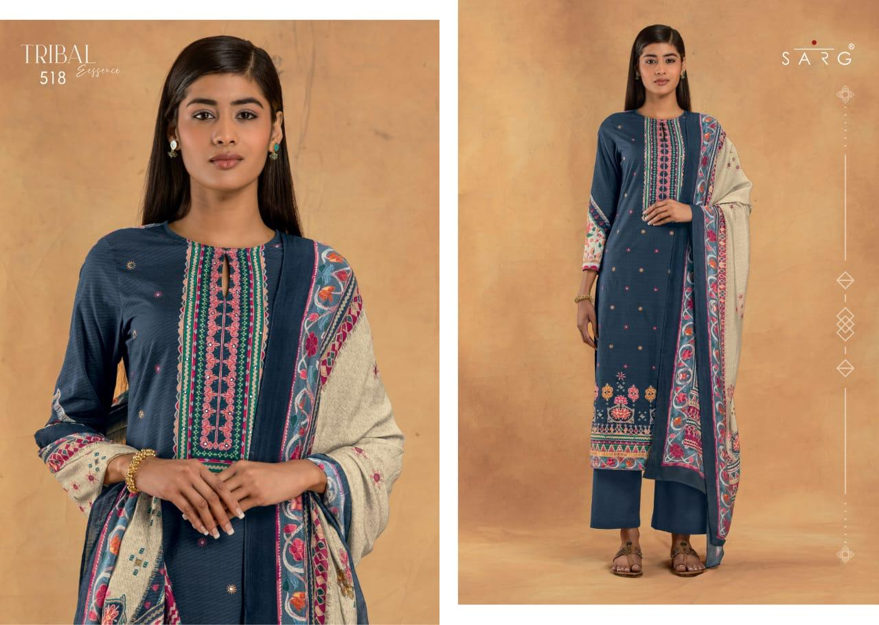 Sarg Tribal Essence Designer Cambric Cotton With Handwork Suits Wholesale
