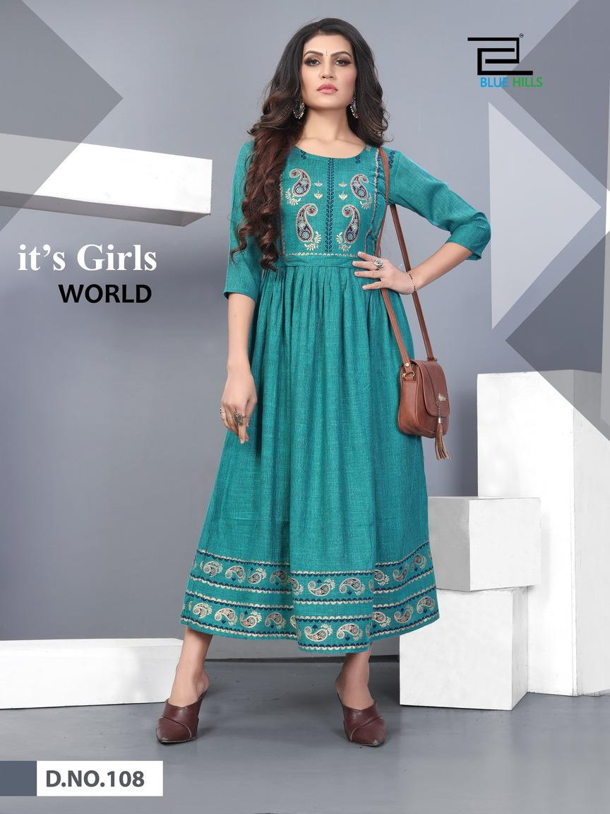 Blue Hills Shivi Designer Heavy Rayon Two Tone Frill Foil Printed With Embroidery Work Gowns Wholesale