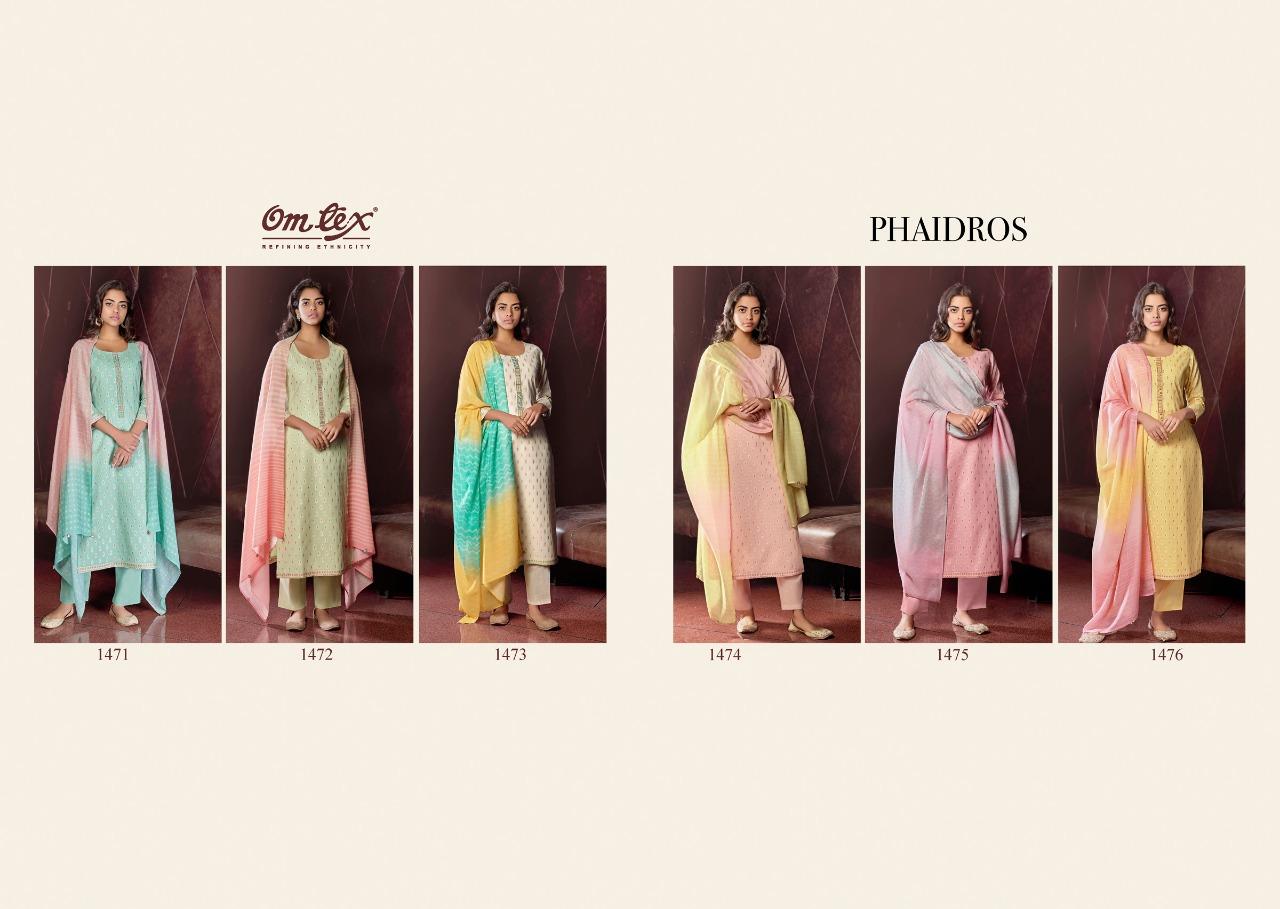 Omtex Phaidros Designer Super Fine Cotton Jacquard With Handwork Handwork Suits Wholesale