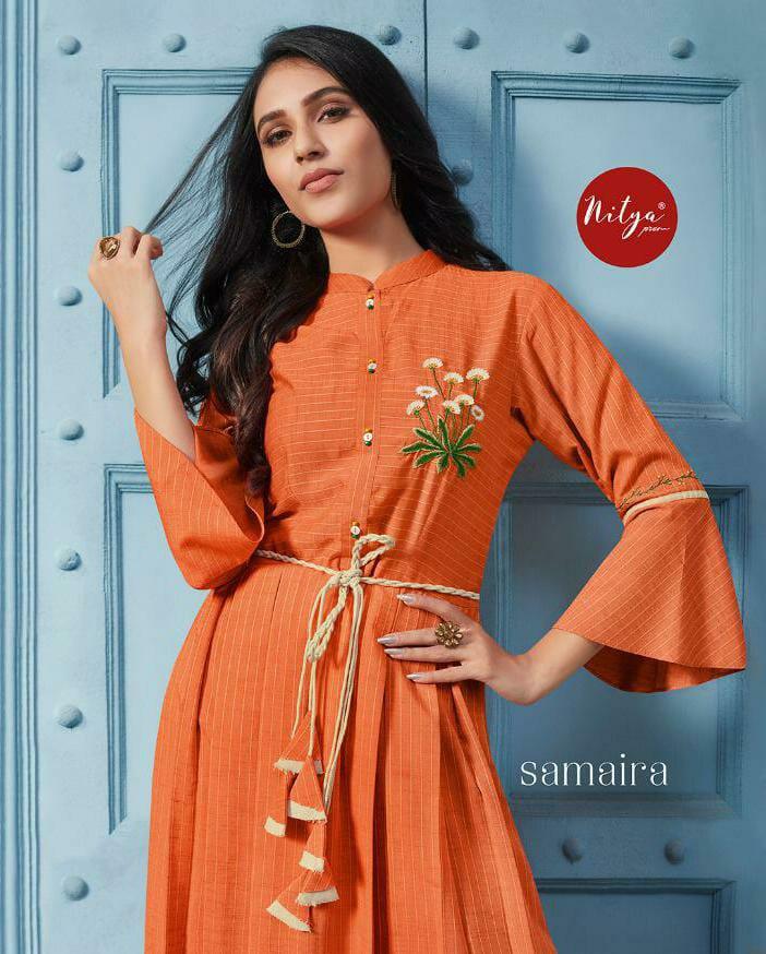 Lt Nitya Samaira Fancy Cotton Designer Gown Pattern Kurtis Wholesale