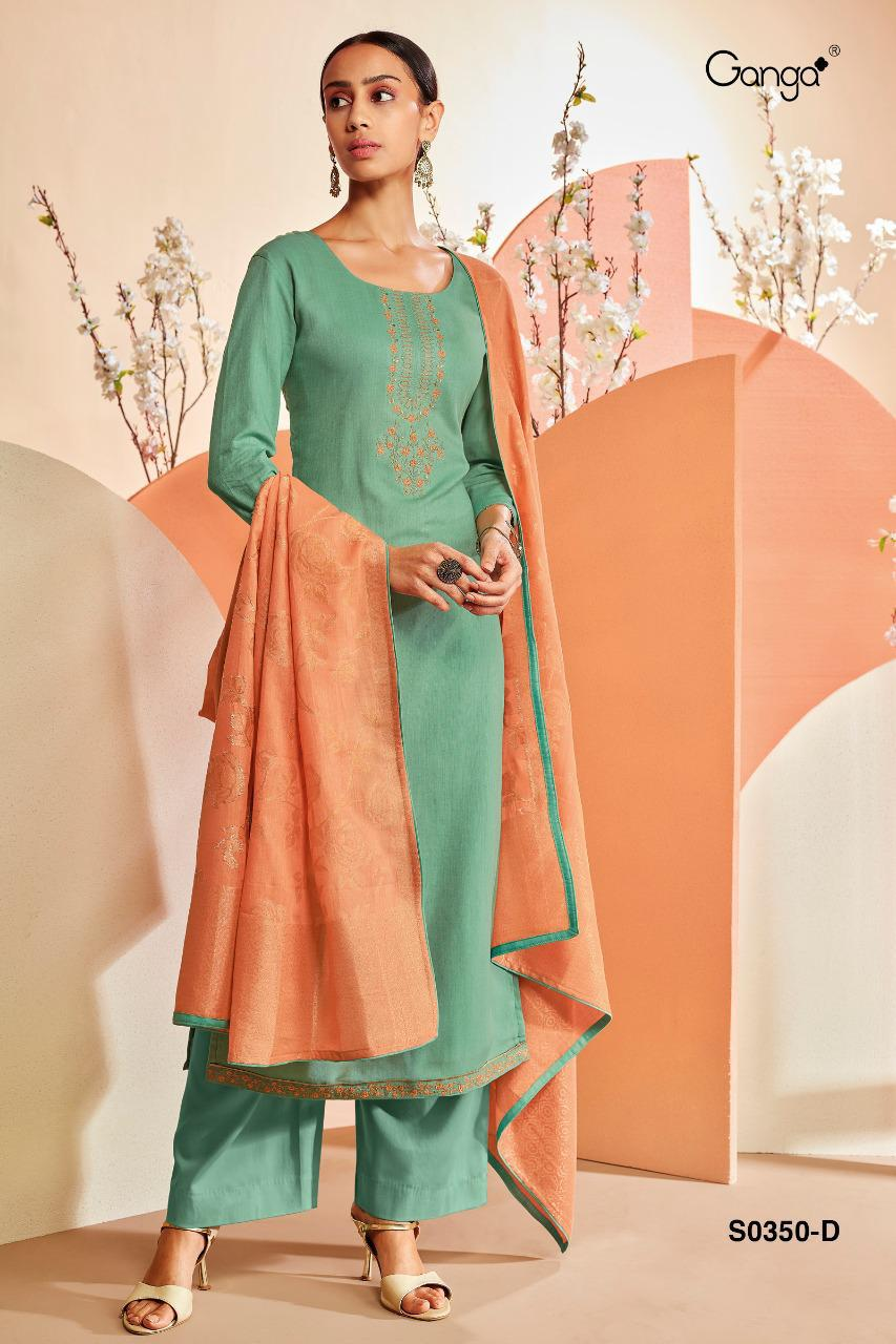 Ganga Orin 350 Designer Cotton With Embroidery Work Suits Wholesale