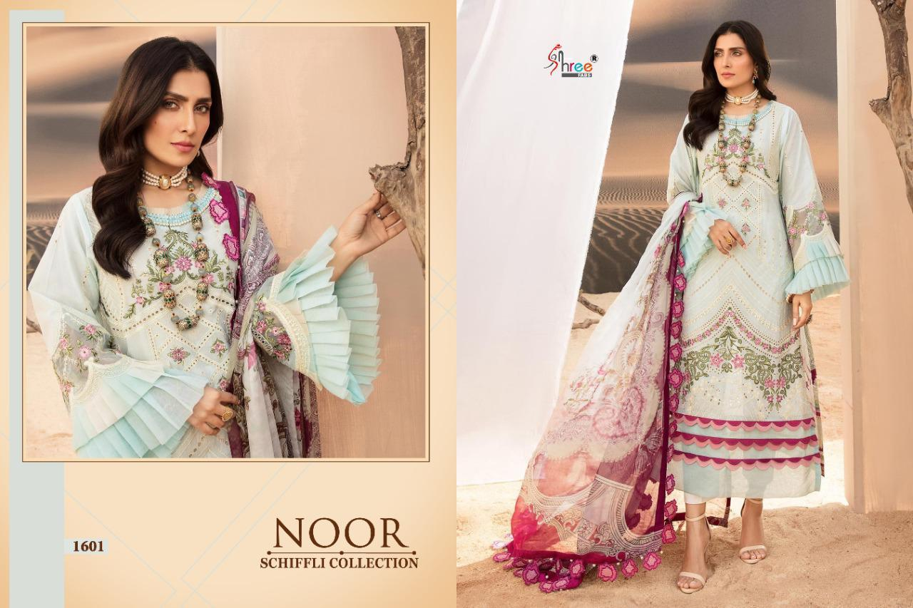 Shree Fab Noor Schiffli Collection Designer Pure Lawn With Self Embroidery Work Pakistani Pattern Suits Wholesale