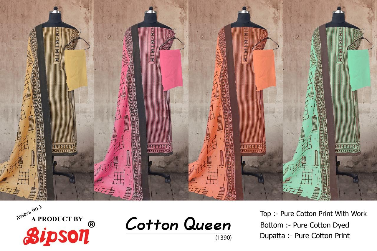 Bipson Cotton Queen 1390 Designer Cotton Print With Work Suits Wholesale