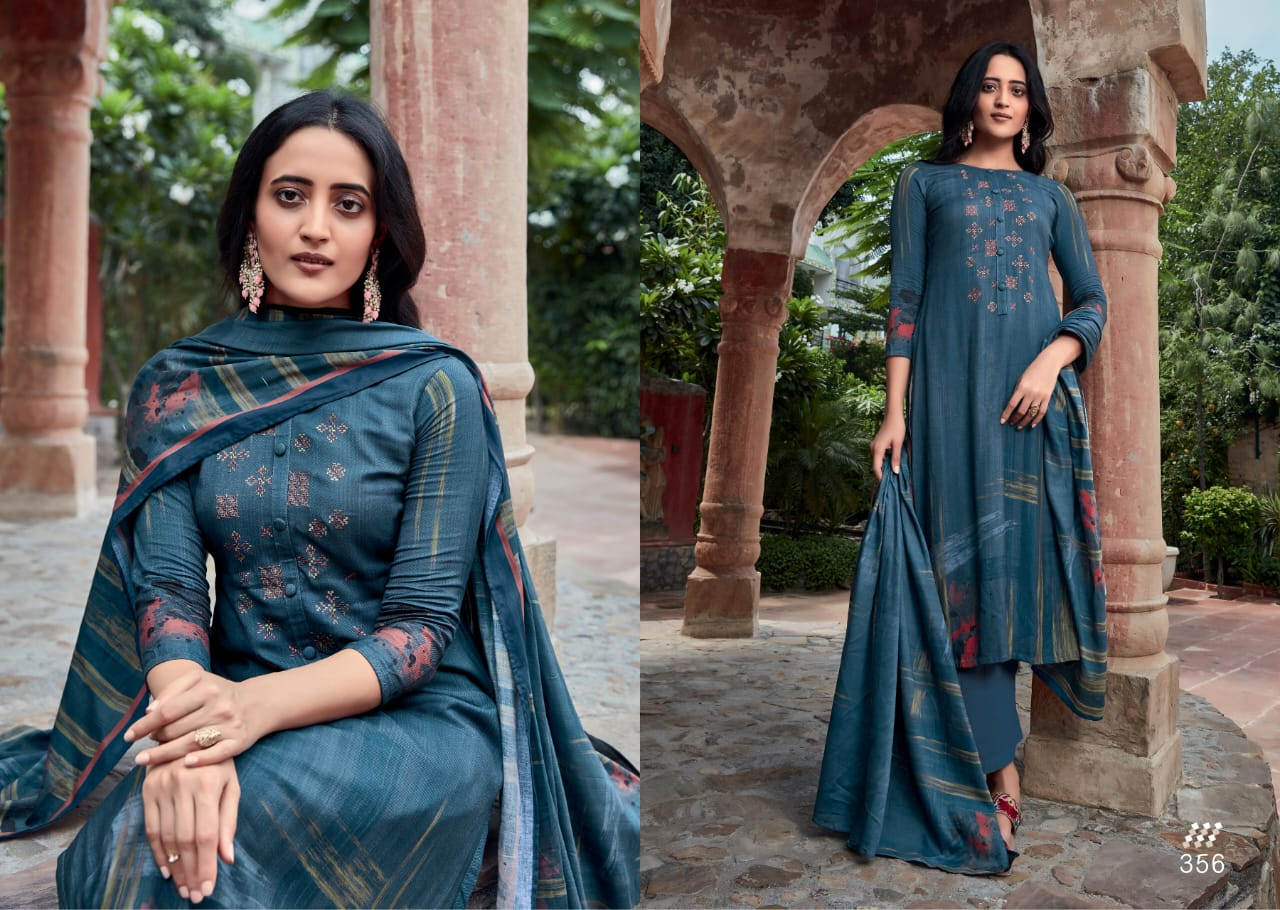 S-nirukht Heer Cotton Satin Print With Embroidery Work Suits Wholesale
