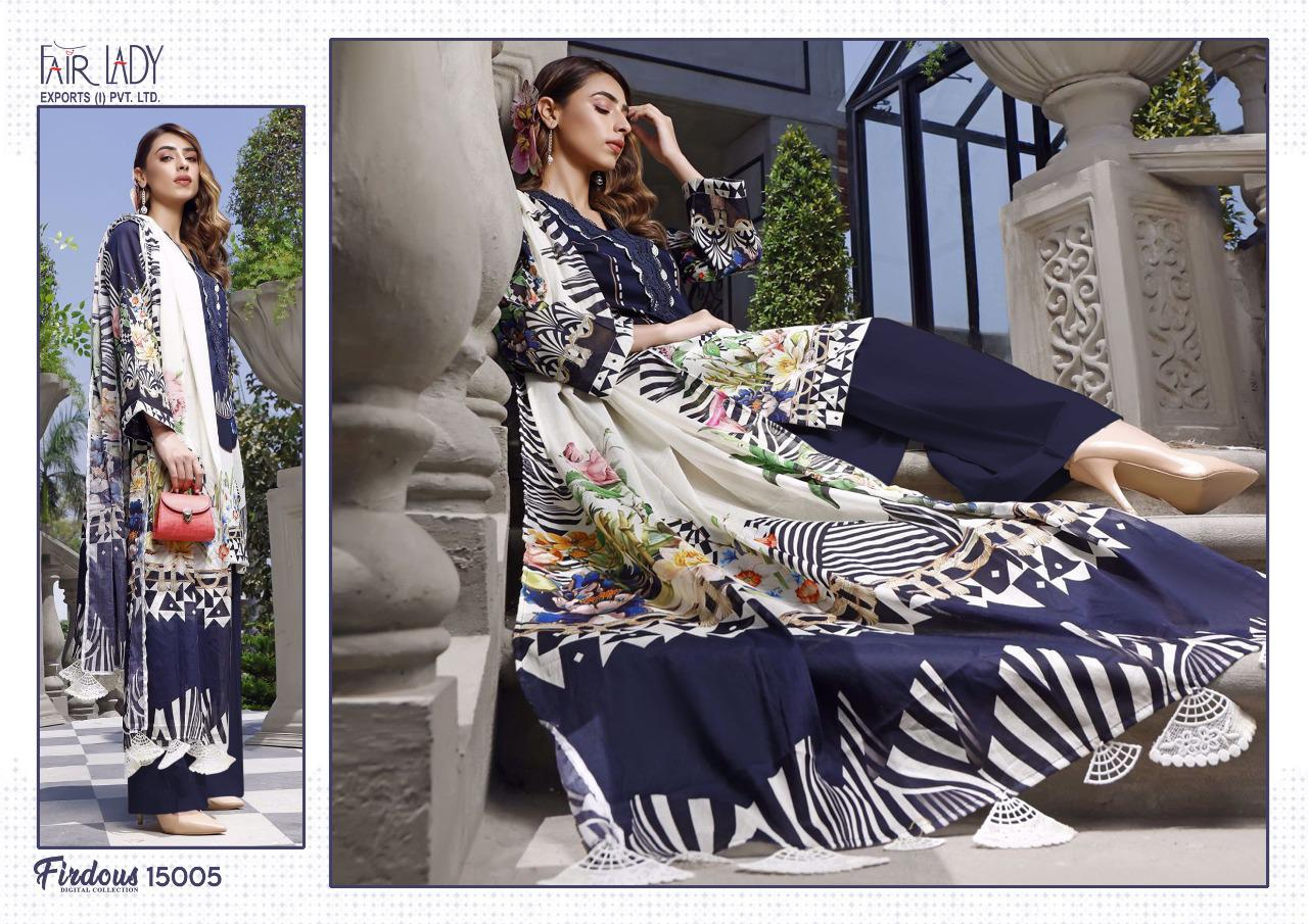 Fairlady Firdous Digital Collection Designer Lawn Cotton Digital Print With Heavy Embroidery Patches Pakistani Pattern Suits Wholesale