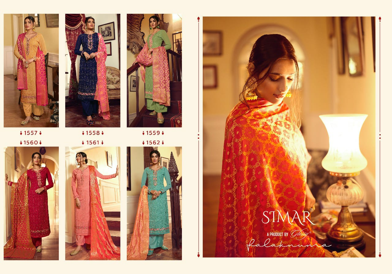 Glossy Falaknama Designer Georgette Embroidery With Swarovski Work Suit With Jacquard Dupatta Suits Wholesale