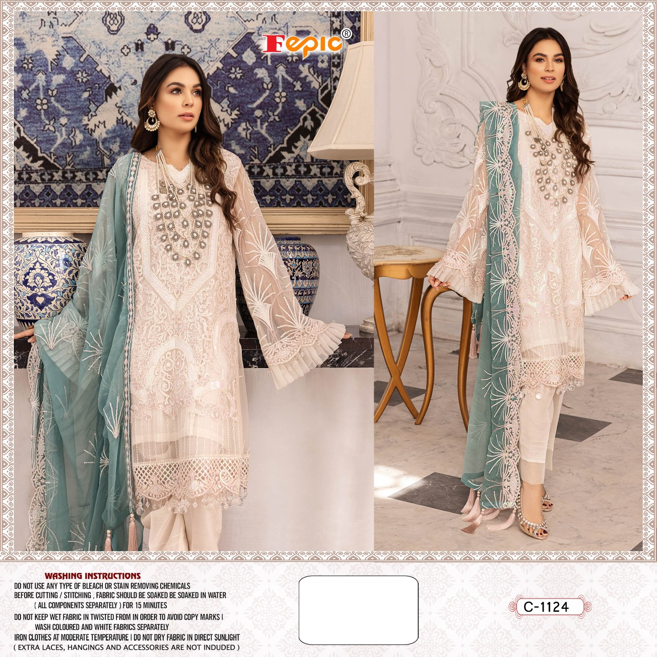 Fepic Rosemeen D No C 1124 Designer Net Embroidery With Pearls Work With Neck Embroidery Work Pakistani Pattern Suits In Singles