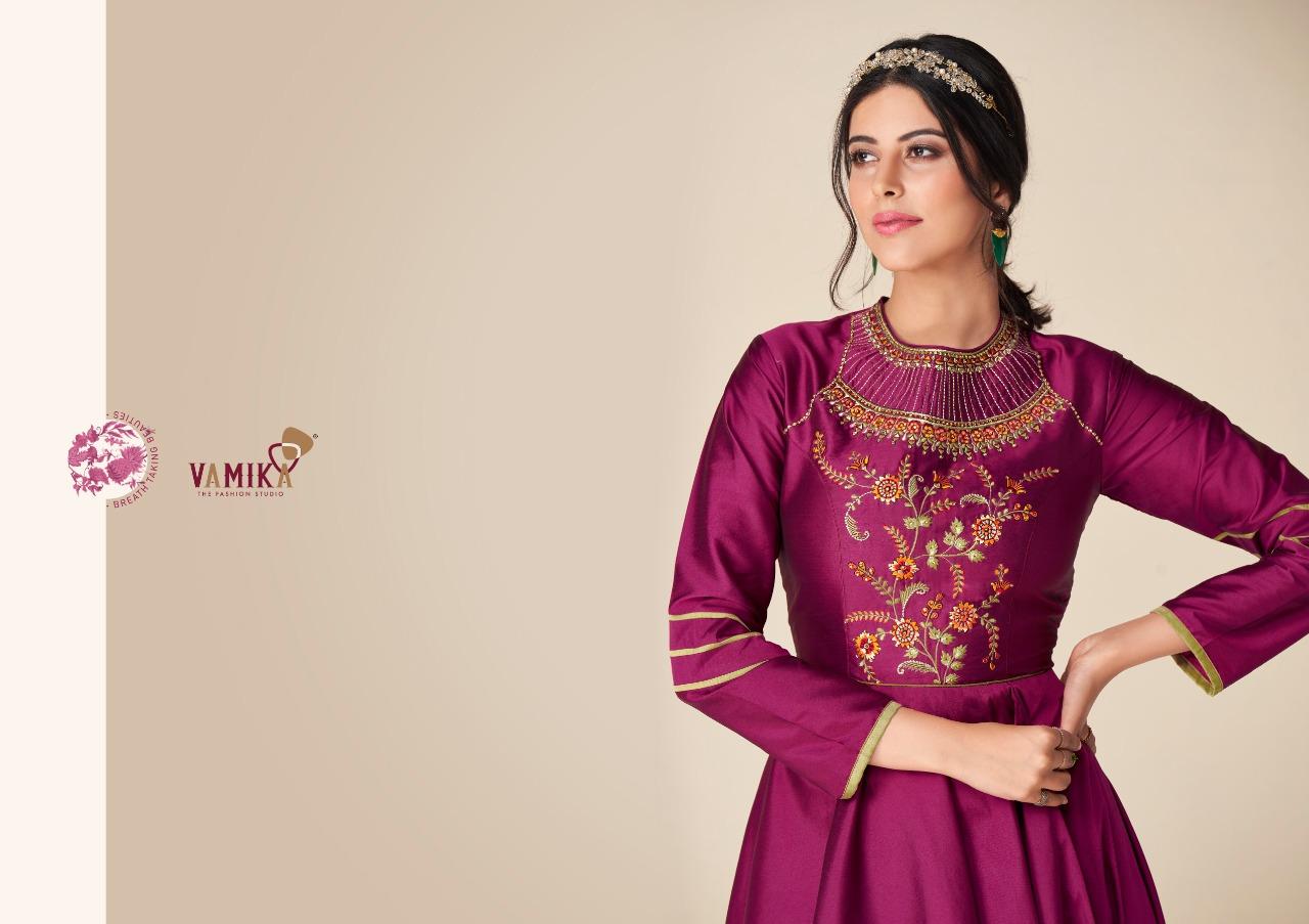 Vamika Rangmahal Designer Tapeta Silk Heavy Embroidery Work Partywear Gowns In Best Wholesale Rate
