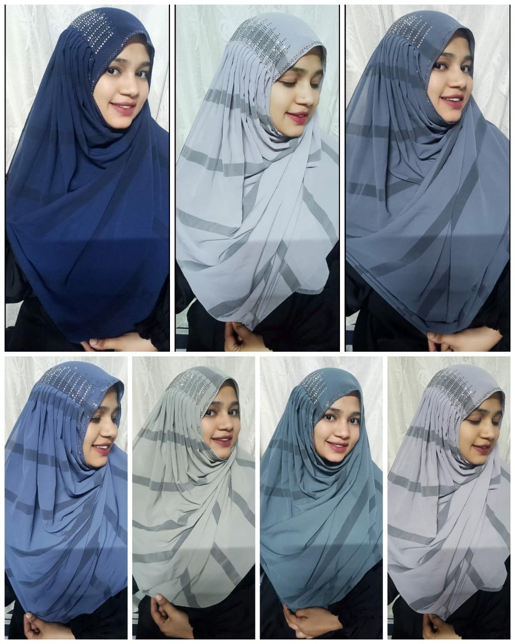 Printed Oman Hijab With Ms Stone Stylish Partywear Hijab In Singles