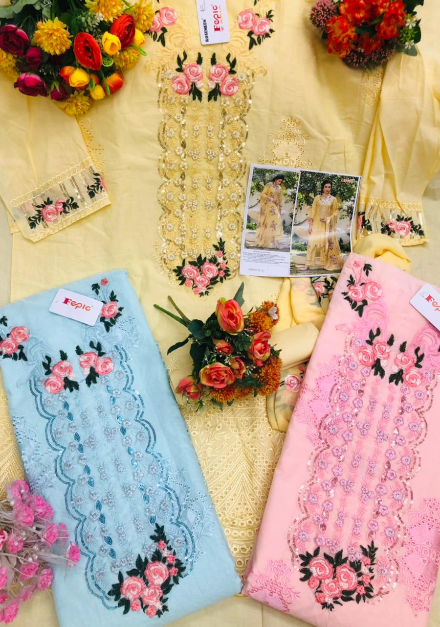 Fepic Rosemeen D No 5112 Designer Pure Cotton Self Embroidered Pakistani Pattern Suits In Singles